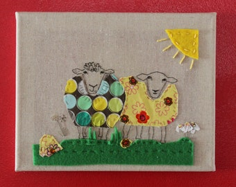 Ewe Two, hand embroidery, fibre art, textile art