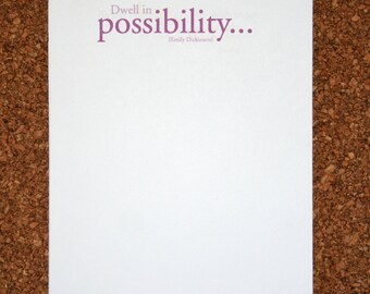 """Set of 4 Personalized Notepads with Inspirational Quote """"Dwell in Possibility"""" / Emily Dickinson / Custom Note Pad"""
