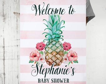 Pineapple Welcome Party Sign Birthday Bridal Shower Wedding Baby Shower Graduation Sweet Sixteen, I will customize for you, Print your own