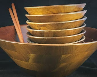 11-piece Solid Walnut Salad Bowl Set