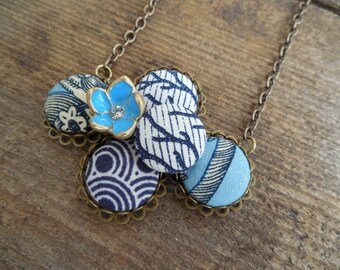 The Joanna: Covered Button Cluster Necklace in Shades of Blue with Blue Flower Accent