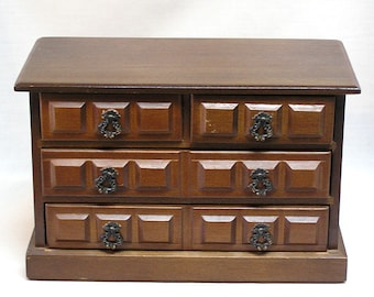 Apco Japan Musical Wood Jewelry Box with Four Drawers / Plays Shadow of Your Smile / Ornate Drawer Pulls / Jewelry Storage Box