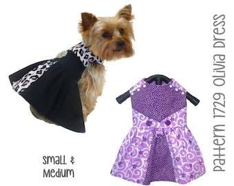 Olivia Dog Dress Pattern 1729 * Dog Dresses * Dog Clothes * Pet Clothes * Dog Clothes Patterns * Dog Harness * Small Dog Clothes * Sm & Med