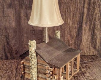 Cabin table lamp etsy early america enterprises by woody byers hand crafted log cabin lamp free shipping aloadofball Image collections