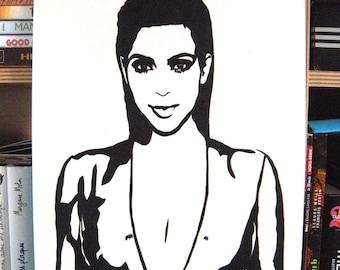 Kim Kardashian West portrait original painting stencil feminist women