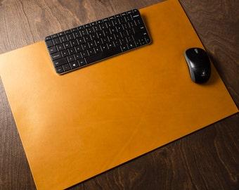 Full Grain Leather Desk Pad Blotter / personalize / customize / choose color / brown / gold / monogram / laptop / office / size