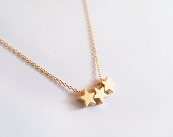 Gold Three Stars Necklace - Gift for her - Everyday Jewelry