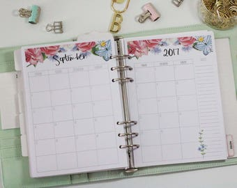 A5 Monthly Planner Insert, Floral, MO2P. Fits Large Kikki-K and Filofax. Colourful Blue, Pink.