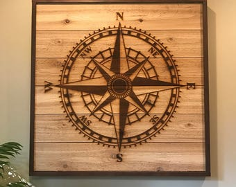 Wooden Compass Rose
