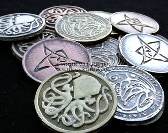 Cthulhu Coins or Medallions. Single or Set