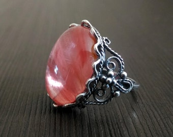 6 1/2 SIZE Ring cherry quartz Pink Silver ring Carved frame Russian Free shipping