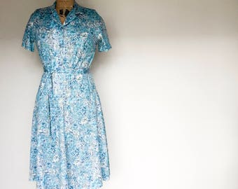 Vintage Blue Floral Dress, New Zealand Made, Womens Vintage, True Vintage, Vintage Dress, Dresses, Floral Dress, Vintage,  SZ 8 - 10 US