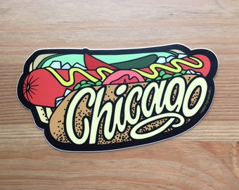 """Chicago Hot Dog Sticker - 5"""""""