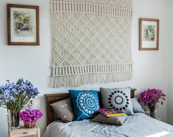 large macrame wall hanging wall tapestry boho bedroom dcor macrame wall art woven wall hanging headboard large wall art bohemian - Large Wall Hangings