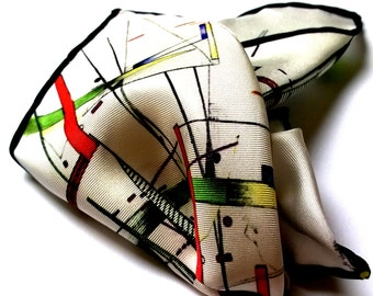 Digitally printed scarf- Hand rolled edges- QV