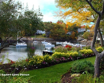 5 x 7 Greeting Card with Envelope - Perkins Cove, Ogunquit, Maine, Seascape, Boats, Flowers, Foliage, Sailboats, Gardens