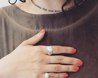 ME ring, sterling silver ring, silver minimalist ring,  statement silver ring, bold ring,contemporary ring, textured ring