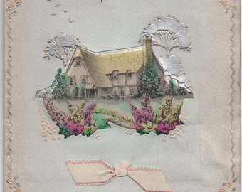 A Birthday Wish For Mother, Used Greeting Card, c1950s, Puffy sachet, White Ribbon, good shape, Vintage