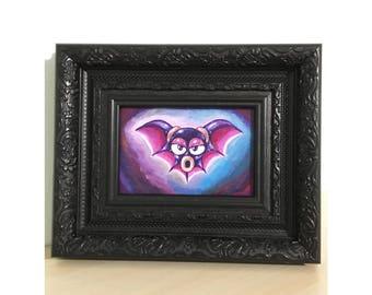 Batton - Megaman Bat Enemy Original Acrylic Painting - Geeky Video Game Pet Portrait - Wall Home Decor Gift for Gamer Katie Clark Art