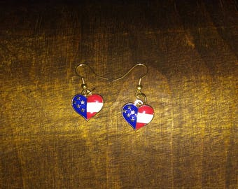 Stainless Steel USA Patriotic Heart Shaped Dangle or Drop Earrings