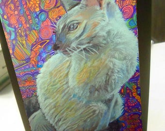 greeting card print of original art-  cat burmese Zentangle spirit animal