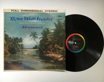 "Vintage Vinyl Record ""Trade Wind Island"" Romantic Island Songs Sung by Haunani, Hawaiian  Music, Full Dimensional Stereo, Capitol Records"