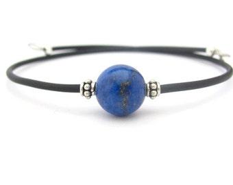 Lapis Lazuli Bracelet, Lapis Bracelet, Sterling Silver Bracelet, Yoga Bracelet, Wrap Bracelet, Friendship Bracelet, Gemstone Bracelet