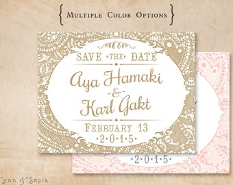Vintage Lace - Printable Wedding Save the Date - 4x5 Postcard - Cottage Victorian Rustic Elegant - Gold White Pink Blush Gray Grey
