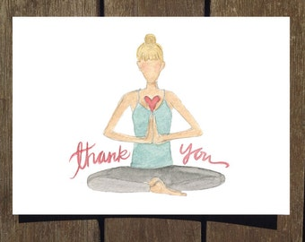 Thank You Yogi Card, 8-Pack of Watercolor Thank You Cards (Blank Inside) // Yoga Cards // Gifts for Her // Yoga Stationary Packs