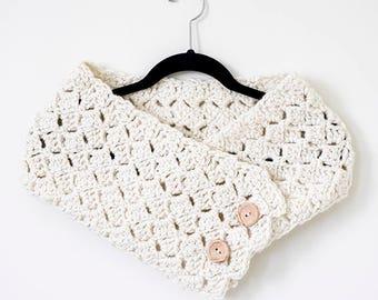 Button Cowl Crochet Pattern | Chunky Scarf Pattern | Easy Crochet Pattern | Button Down Scarf | Crocheted Neck Warmer | PDF Pattern