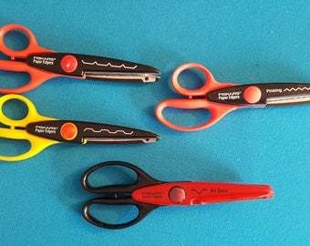 Fiskars Edging Scissors ~ 1 Corner Edger and  3 Paper Edgers ~ Like New