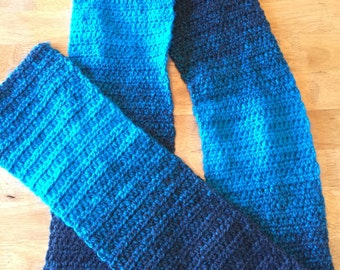 Ombre Scarf in Charcoal and Aqua