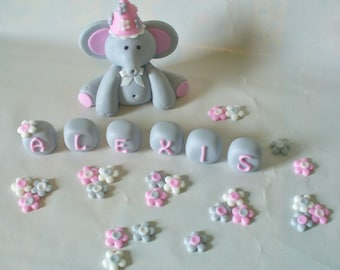Personalized Baby Elephant Fondant Cake Topper