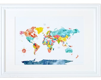 World Map Wall Art, Travel Gift, Watercolor Art Print, Meera Lee Patel