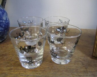 Mid Century Libby Glass Black and Gold Carriage Design.  Classic Car Glasses. Libby Glassware. Barware. Set of Four