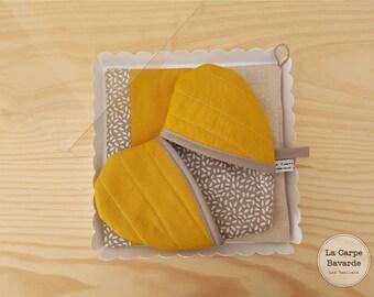 box mustard pot holders - mustard yellow heart Potholder - trivet square mustard yellow