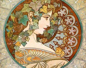 Mucha ceramic decals, Alphonse Mucha, art nouveau ceramic decals, image transfers, Mucha Ivy, Ivy, decals glass, decals ceramics, enameling