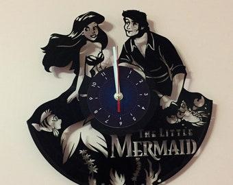 The Litlle Mermaid Vinyl Record Wall Clock disney gifts for girls Little Mermaid bedroom art decor