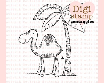 Camel with Palm Tree Zentangle Digital Stamp for Card Making, Paper Crafts, Scrapbooking, Hand Embroidery, Invitations, Coloring Pages