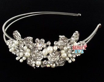 Wedding Crystal Rhinestone pearl Headband Hair Band