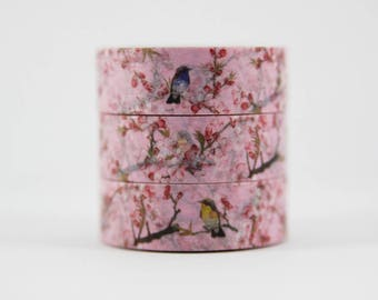 Washi tape pink cherry blossom bird branch masking tape