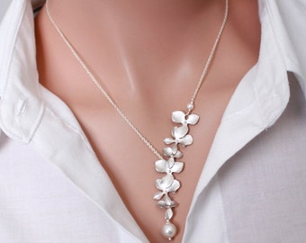 Bridesmaid Gift Necklace, Orchid Necklace Cascade Orchid and Swarovski Pearl Necklace, Bridesmaid Jewelry, Bridesmaid Necklace Gift for Her