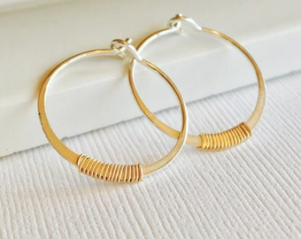 Petite Embellished Hoops.  Silver Hoop Earrings. Wire Wrapped Hoops. Simple Gold Hoops. Minimalist Hoops