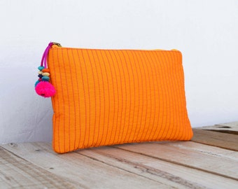 Orange pouch, zipper purse, make up or cosmetic bag, utility pouch, quilted polysilk, bohemian