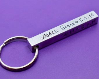 Birth Bar Keychain- Mom Gift Mothers day - Four Sided Keychain - Name Keychain - Family - Fathers Day Gift - Dad Keychain - kids names