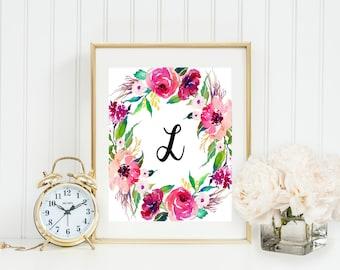 Floral monogram print, personalized letter print, nursery letter printable, printable art, watercolor monogram, nursery monogram, baby girl