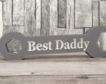 Father's Day gift, engraved spanner, any colour, wooden spanner, wooden gift