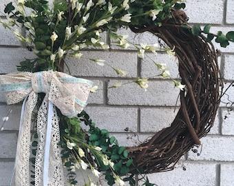 "Spring - Custom Seasonal 18"" Grapevine Wreath"