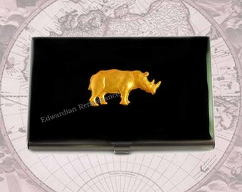 Rhino Business Card Case Inlaid in Hand Painted Enamel Metal Wallet Neo Victorian Custom Colors and Personalized Options