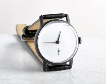 "Mens watch ,Soviet watch ,Russian watch ,minimal watch , minimalist watch, Mechanical watch ,black white watch,classic watch ""Victory"""
